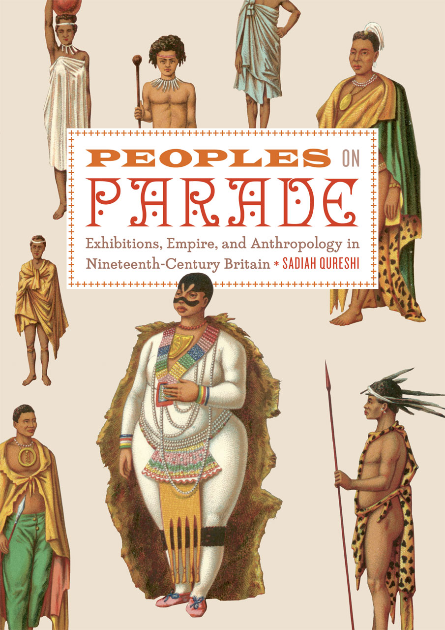 Dust jacket of Peoples on Parade featuring numerous people of colour in national dress from an antiquarian history of costume.